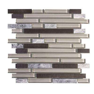 I-Beam 11.75 in. x 13 in. x 8 mm Glass/Stone/Metal Mosaic Wall Tile