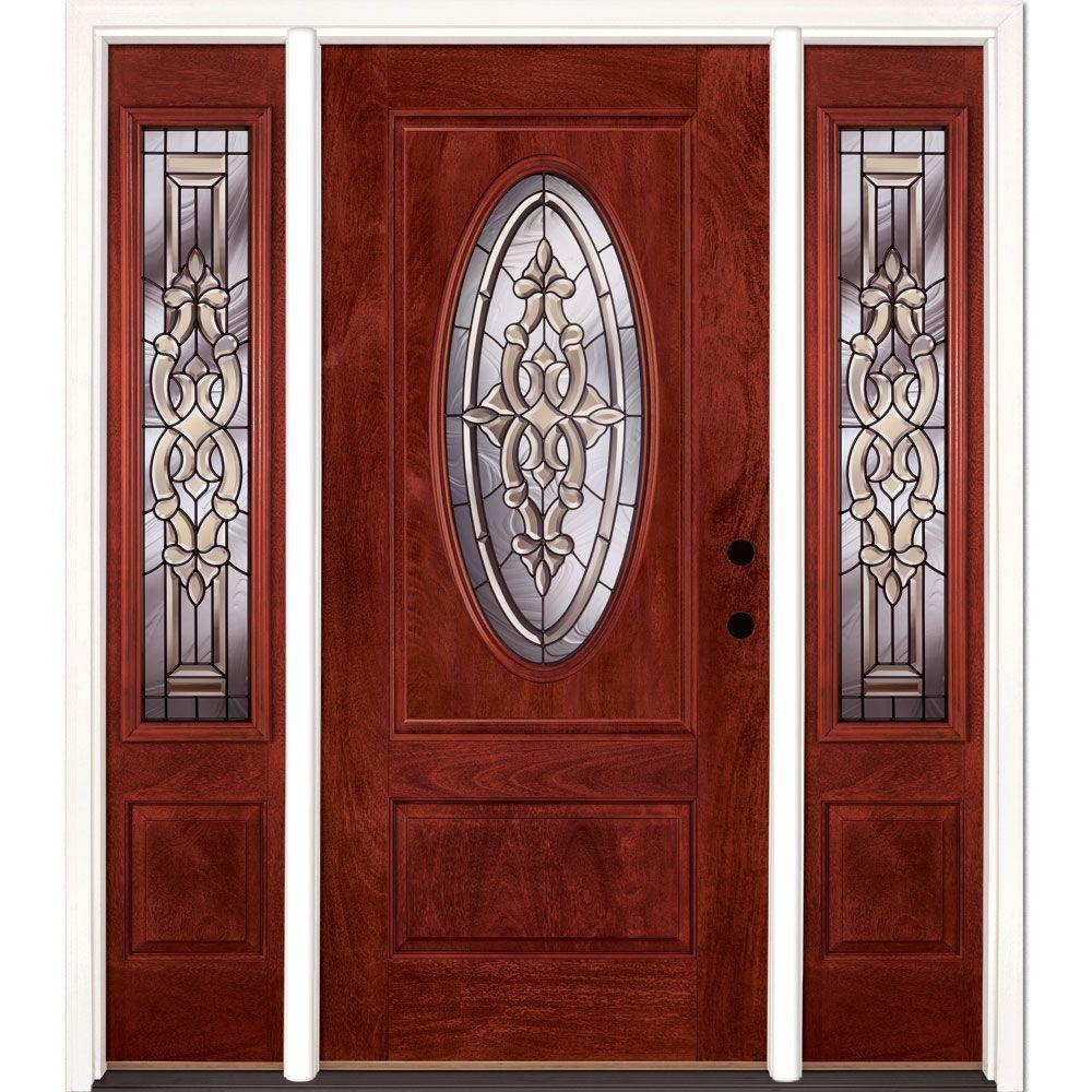 Feather River Doors 63.5 in.x81.625in.Silverdale Patina 3/4 Oval Lt Stained Cherry Mahogany Lt-Hd Fiberglass Prehung Front Door w/ Sidelites