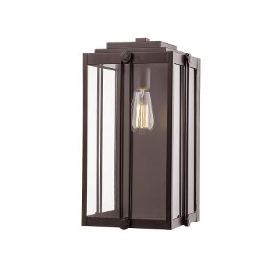 17 in. 1-Light Powder Coat Bronze Outdoor Wall-Light Sconce with Clear Glass