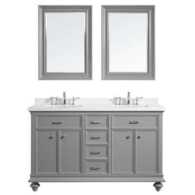 Charlotte 60 in. W x 22 in. D x 36 in. H Vanity in Grey with Quartz Vanity Top in White with White Basin and Mirror