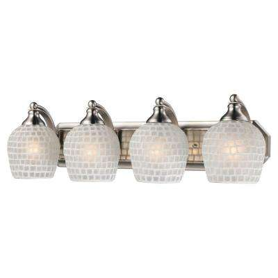 4-Light Satin Nickel Vanity Light with White Mosaic