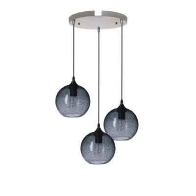 Rustic Seeded 7 in. H 3-Light Silver Hand Blown Glass Chandelier Light with Blue Glass Shade