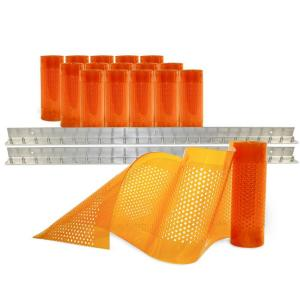 Click here to buy Aleco AirStream Insect Barrier 8 ft. x 8 ft. Amber PVC Strip Door Kit by Aleco.