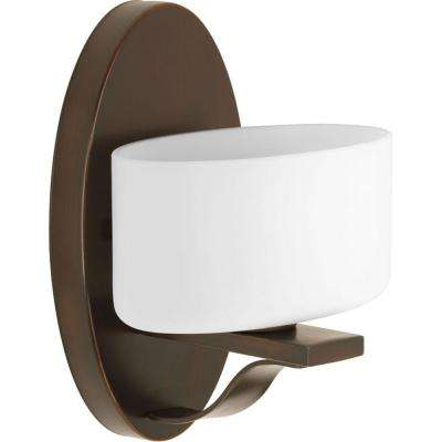 Arise Collection 1-Light Antique Bronze Bath Sconce with Opal Etched Glass Shade