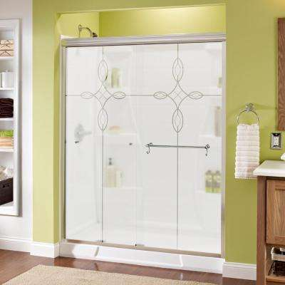 Portman 60 in. x 70 in. Semi-Frameless Sliding Shower Door in Chrome with Tranquility Glass