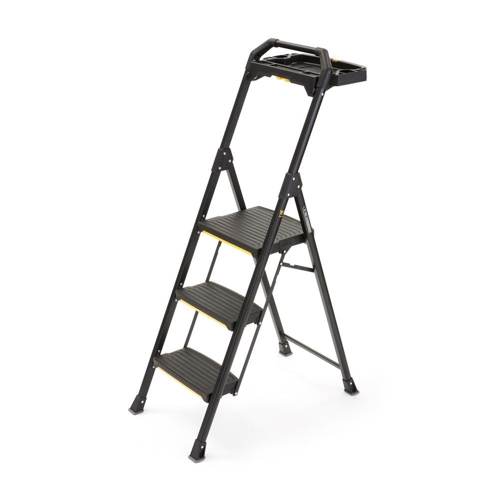 3-Step Pro-Grade Steel Project Ladder with 300 lbs. Load Capacity Type