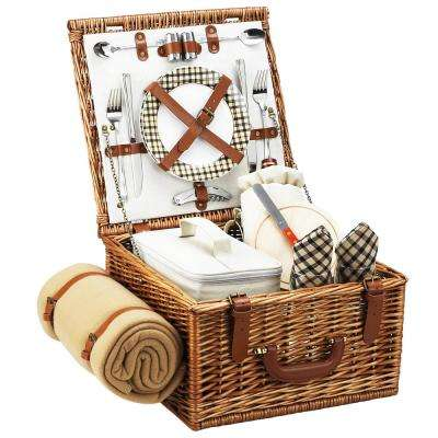 Cheshire English in Style Willow Picnic Basket with Service for 2 and Blanket in London Plaid