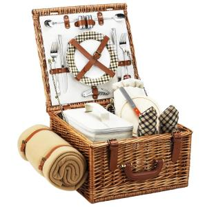 Cheshire English in Style Willow Picnic Basket with Service for 2 and Blanket in London Plaid by