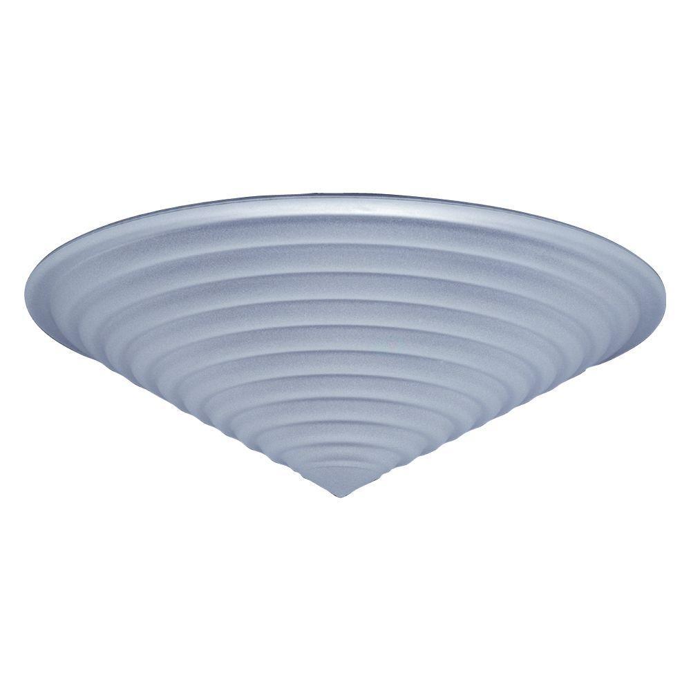 PLC Lighting 1-Light Ceiling White Stepped Frost Glass Flush Mount