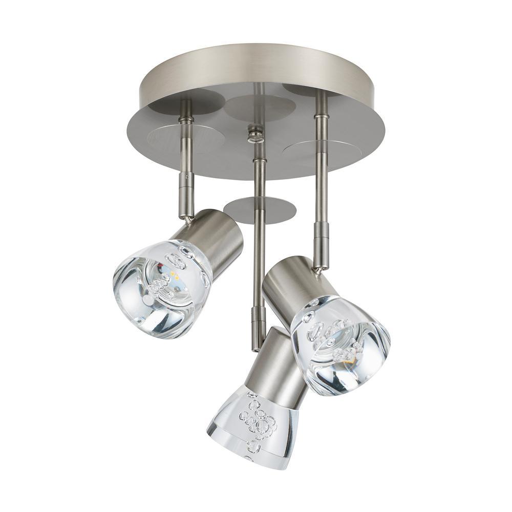 3-Light Chrome Integrated LED Track Lighting Kit Canopy