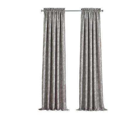 Mallory Blackout Floral Window Curtain Panel in Smoke - 52 in. W x 84 in. L