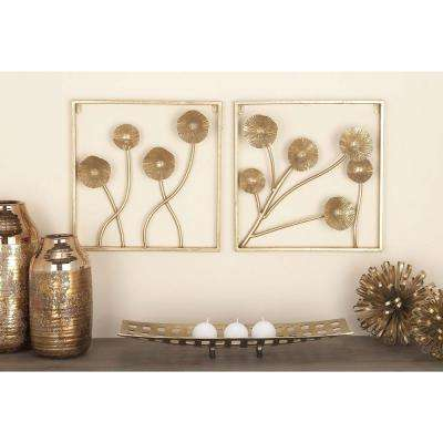 16 in. x 16 in. Modern Gold-Finished Metal Dandelion Wall Decor (Set of 2)
