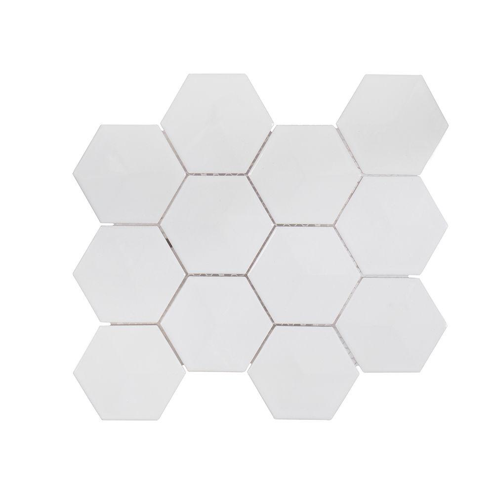 Jeffrey Court Geohex In X In X Mm Ceramic Mosaic Tile - 8 x 10 white ceramic tile