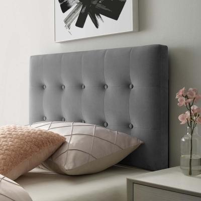 Emily Gray Twin Biscuit Tufted Performance Velvet Headboard