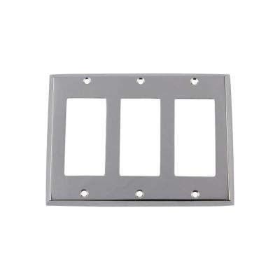New York Switch Plate with Triple Rocker in Bright Chrome