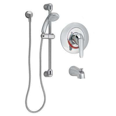 Commercial Water-Saving 36 in. Shower System with Diverter Tub Spout in Polished Chrome (Valve Included)