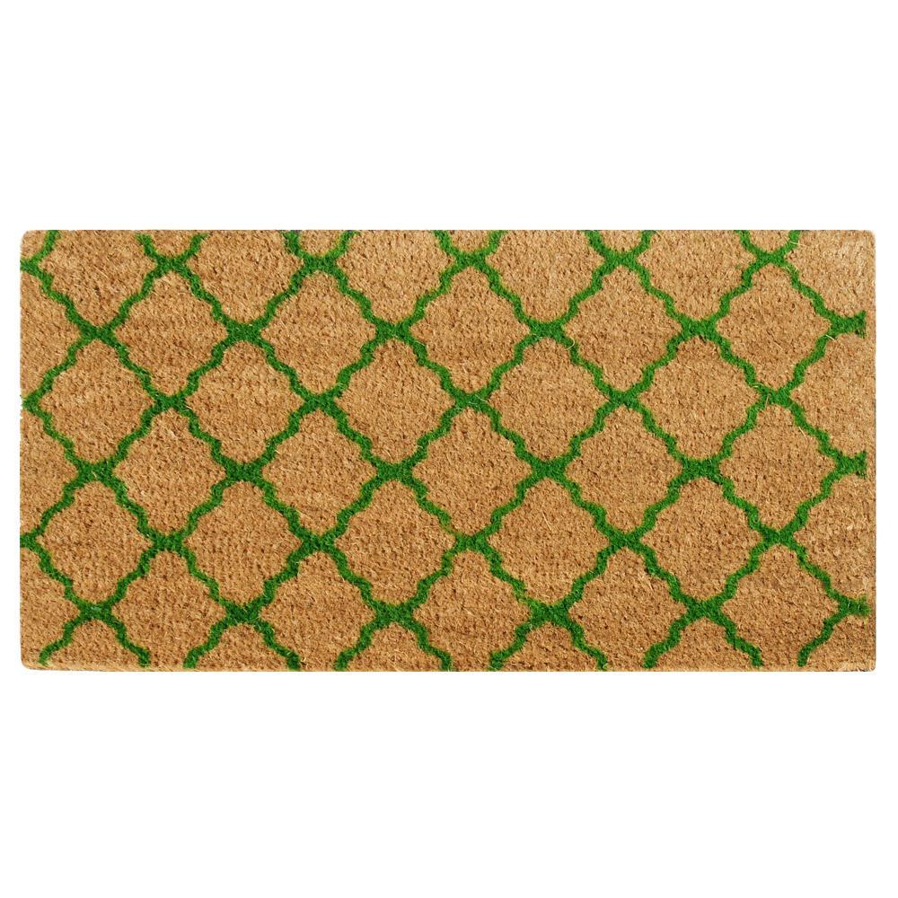 The Moroccan 18 in. x 30 in. Green Outdoor Coir Mat
