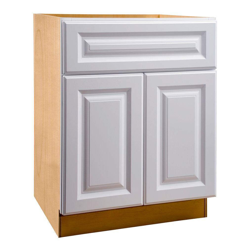 Home Decorators Collection Hallmark Assembled 27x34.5x24 in. Sink Base Kitchen Cabinet with False Drawer Front in Arctic White