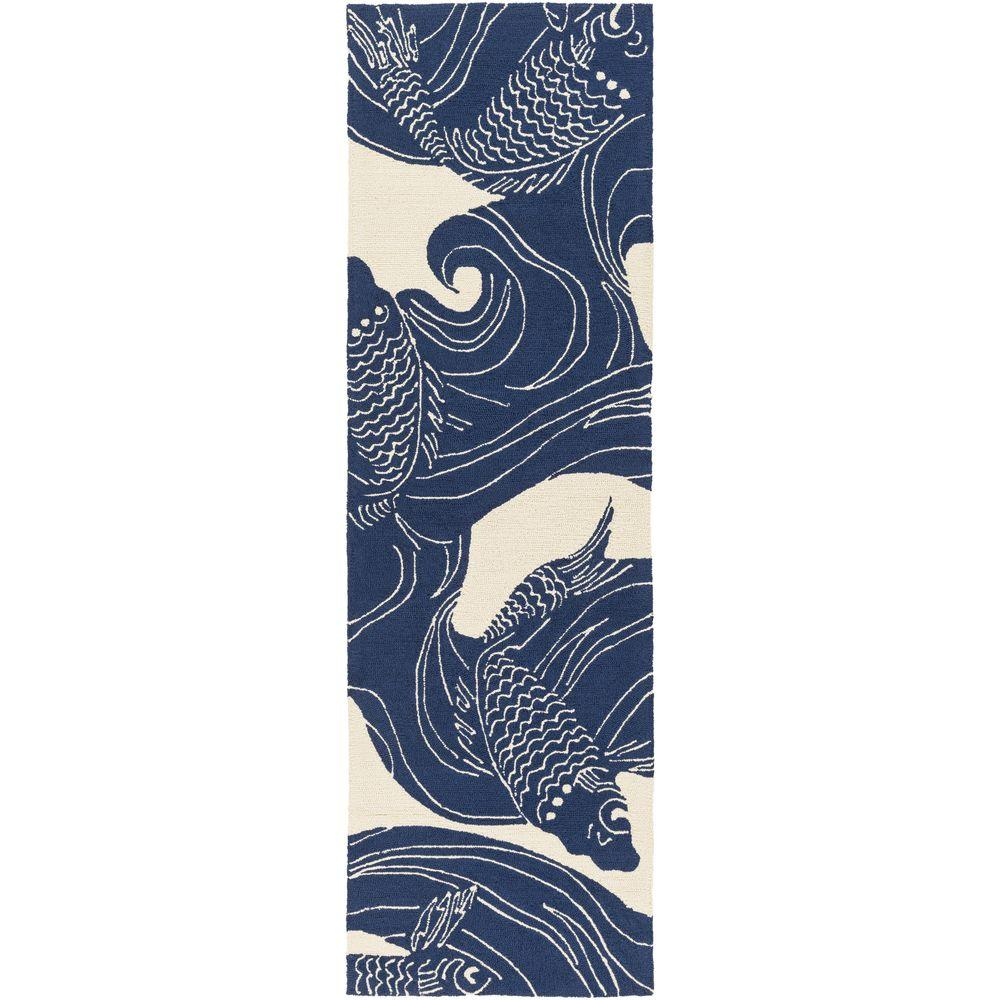 Kaweah Navy 3 ft. x 8 ft. Indoor/Outdoor Runner Rug