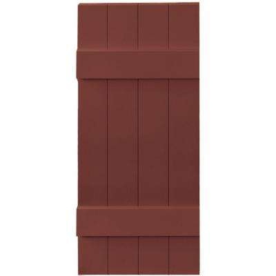 14 in. x 35 in. Board-N-Batten Shutters Pair, 4 Boards Joined #027 Burgundy Red