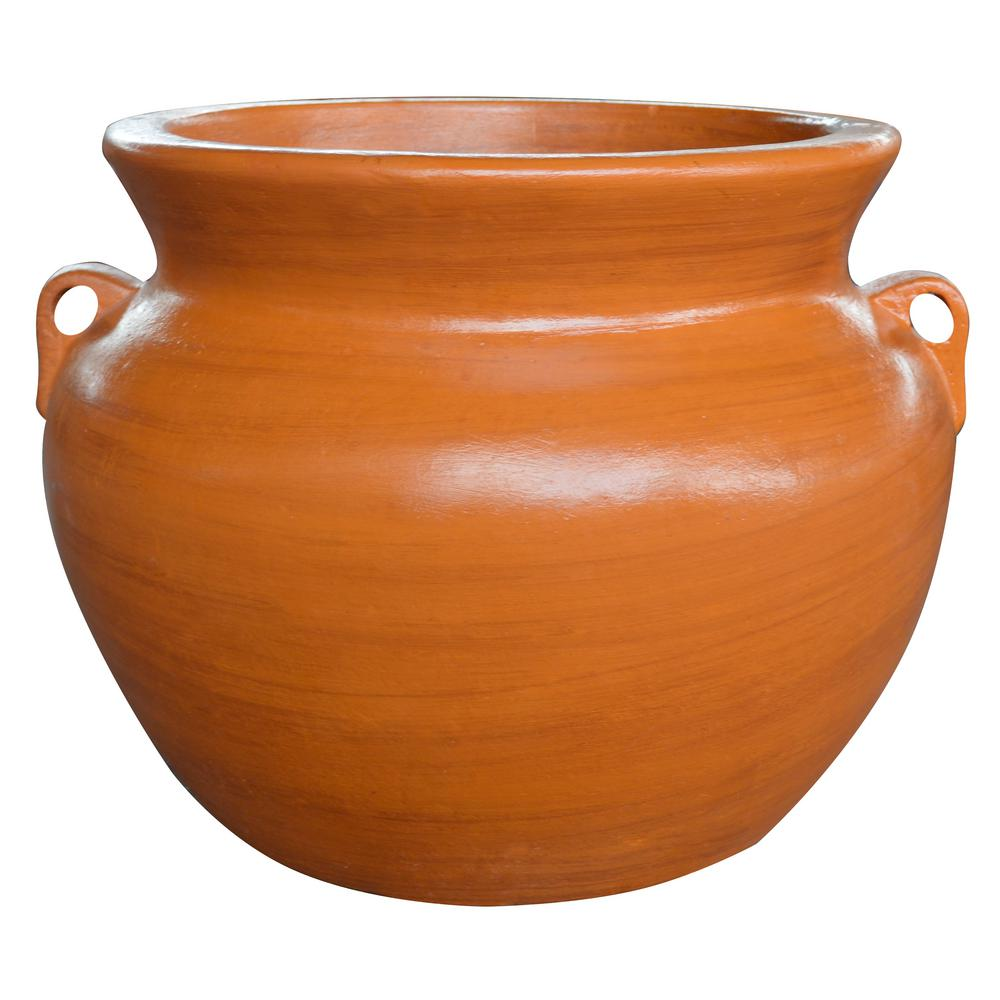 Ravenna Pottery 21 in. Yellow Soft Handle Clay Pot