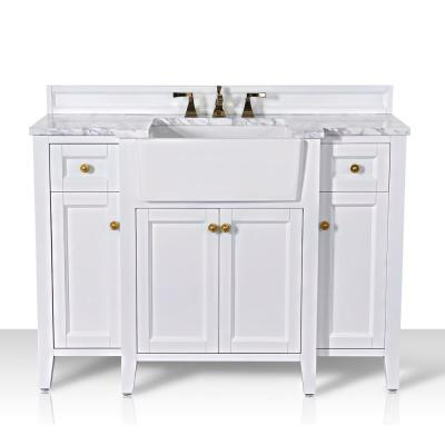 Adeline 48 in. W x 20.1 in. D Bath Vanity in White with Marble Vanity Top in Carrara White with White Basin