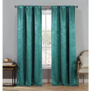 Steena Teal Polyester LightFiltering PoleTop Curtain 27.5 in. W x 84 in. L (2-Pack)