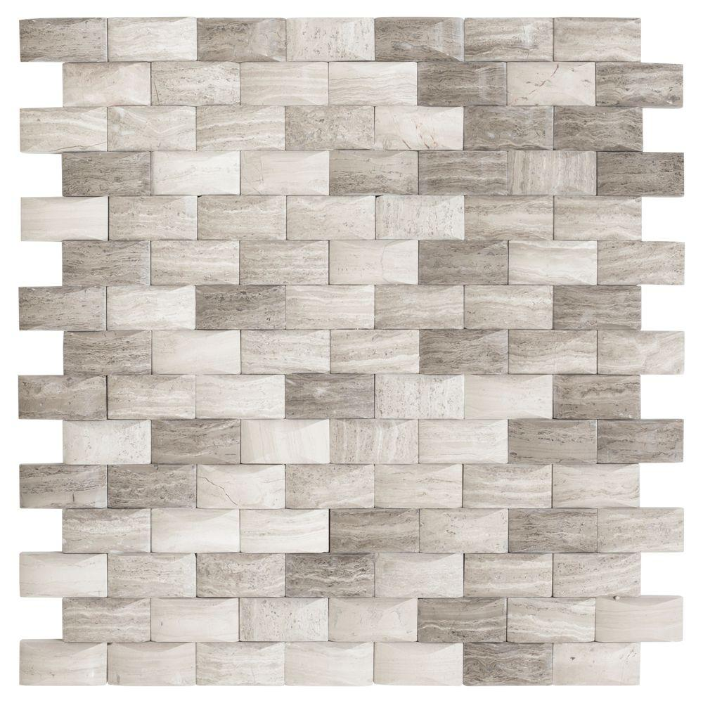 Jeffrey Court Bohemian Grey 11.75 in. x 12 in. x 8 mm Limestone ...