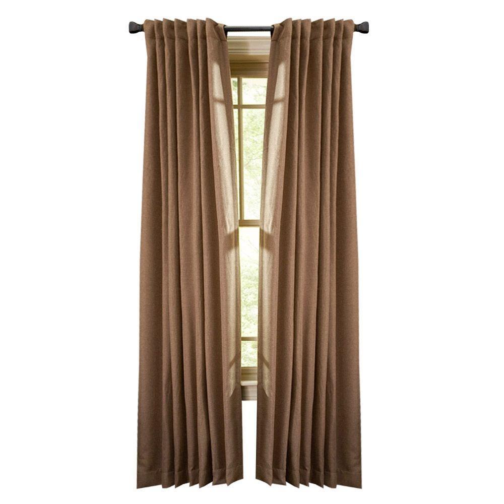 Martha Living Thermal Tweed Room Darkening Window Panel In Nutmeg 50 W