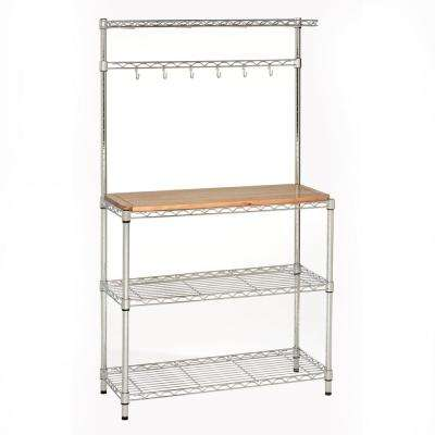 14 in. x 36 in. x 63 in. H Steel Baker's Rack For Kitchens with Solid Wood Top