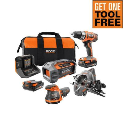 18V Cordless 3-Tool Combo Kit with (2) 2.0 Ah Batteries, Charger, Bag, and Free Hybrid Jobsite Radio