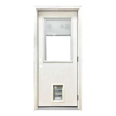 32 in. x 80 in. Classic Clear Mini-Blind LHOS White Primed Fiberglass Prehung Front Door with Med Pet Door