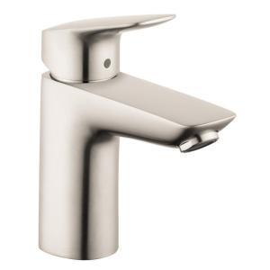 logis 100 single hole bathroom faucet with drain in brushed nickel