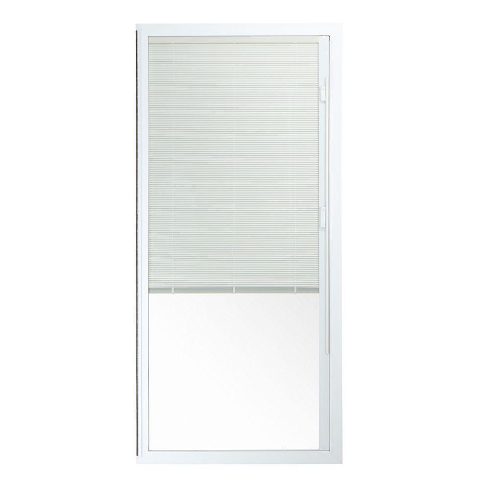 72 in. x 80 in. 50 Series White Vinyl Sliding Patio Door Left-Hand Fixed Panel with Blinds