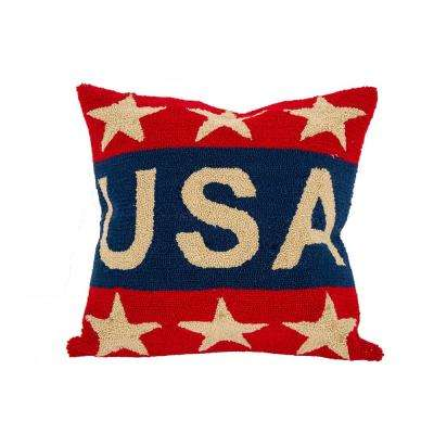18 in. H Hooked Patriotic Pillow Cover