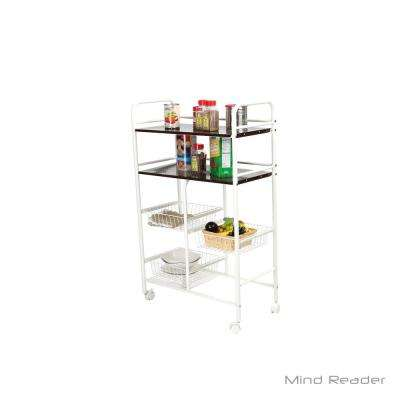 White Metal Kitchen Trolley with 3-Racks and 2-Shelfs