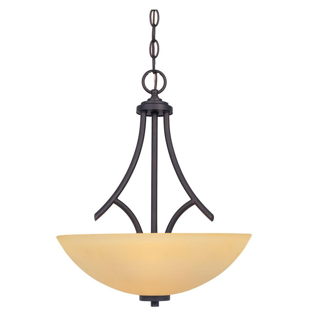 Marbella 3-Light Oil-Rubbed Bronze Mounted Down Pendant with Satin Bisque Glass