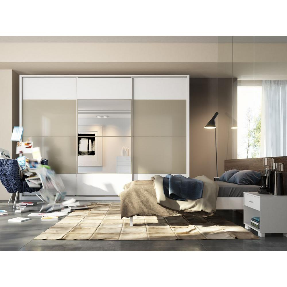 Manhattan Comfort NoHo 3-Door Wardrobe in White High Gloss/Metallic Nude