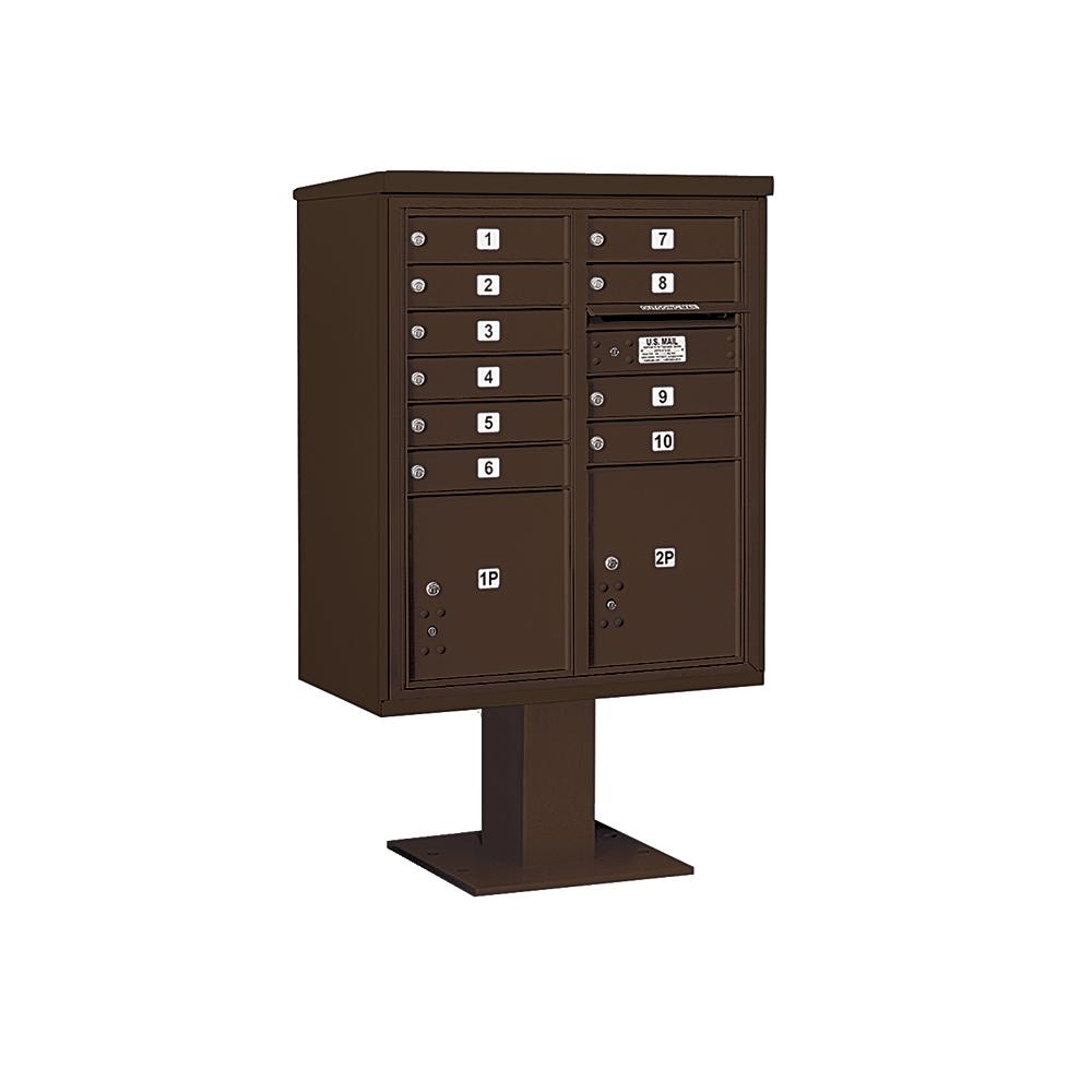 3400 Horizontal Series 10-Compartment 2-Parcel Locker Pedestal Mount Mailbox