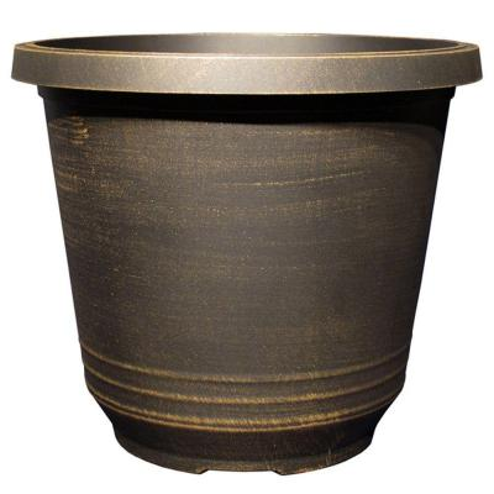 12 in. Torino Round Black Bronze Plastic Planter