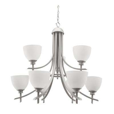 9-Light Brushed Pewter Chandelier with Etched Dove White Glass Shade
