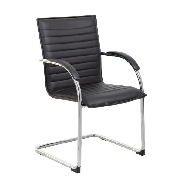 Boss Ribbed Black Guest Chair (Set of 2) B9536-BK-2