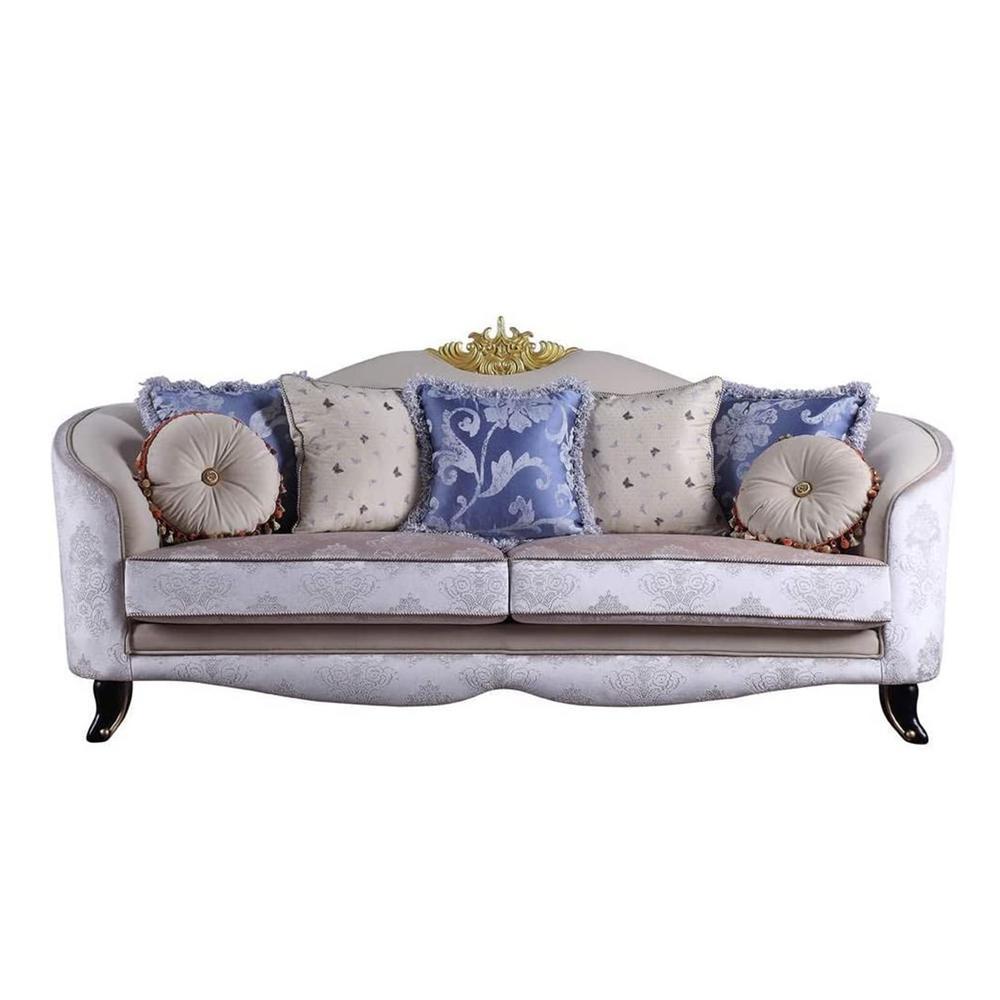 Amelia 3-Seats Cream Fabric Sofa