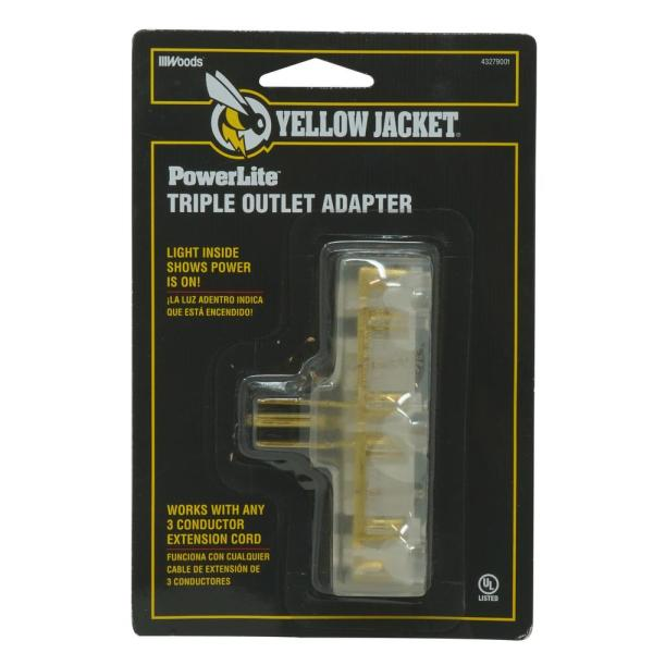 15 Amp Extension Cord Multi-Outlet (3) Power Light Plug Adapter
