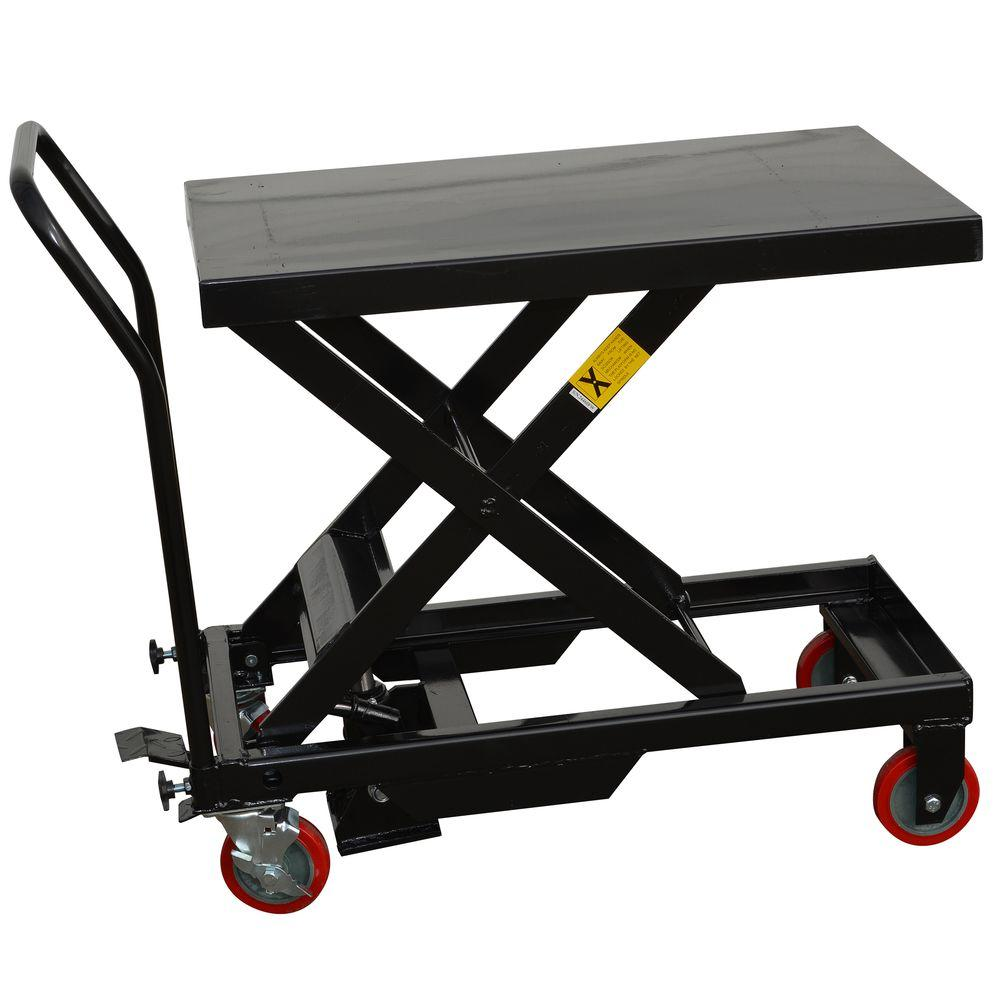 Black Bull Steel Hydraulic 4 Wheeled Table Cart In Black