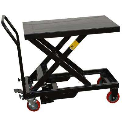 Steel Hydraulic 4-Wheeled Table Cart in Black