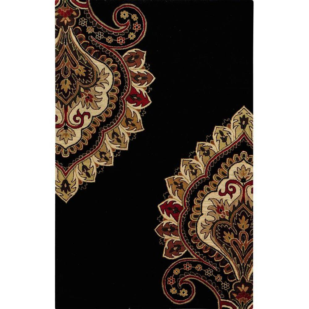 Home Decorators Collection Amour Black 5 ft. 3 in. x 8 ft. 3 in. Area Rug