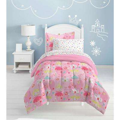 Pretty Princess 5-Piece Pink Twin Bed in a Bag Set