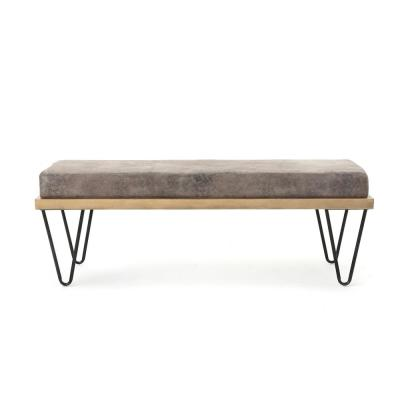 Elisha 16.50 in. x 47.25 in. x 15.75 in. Greyish Brown and Matte Black Upholstered Bench