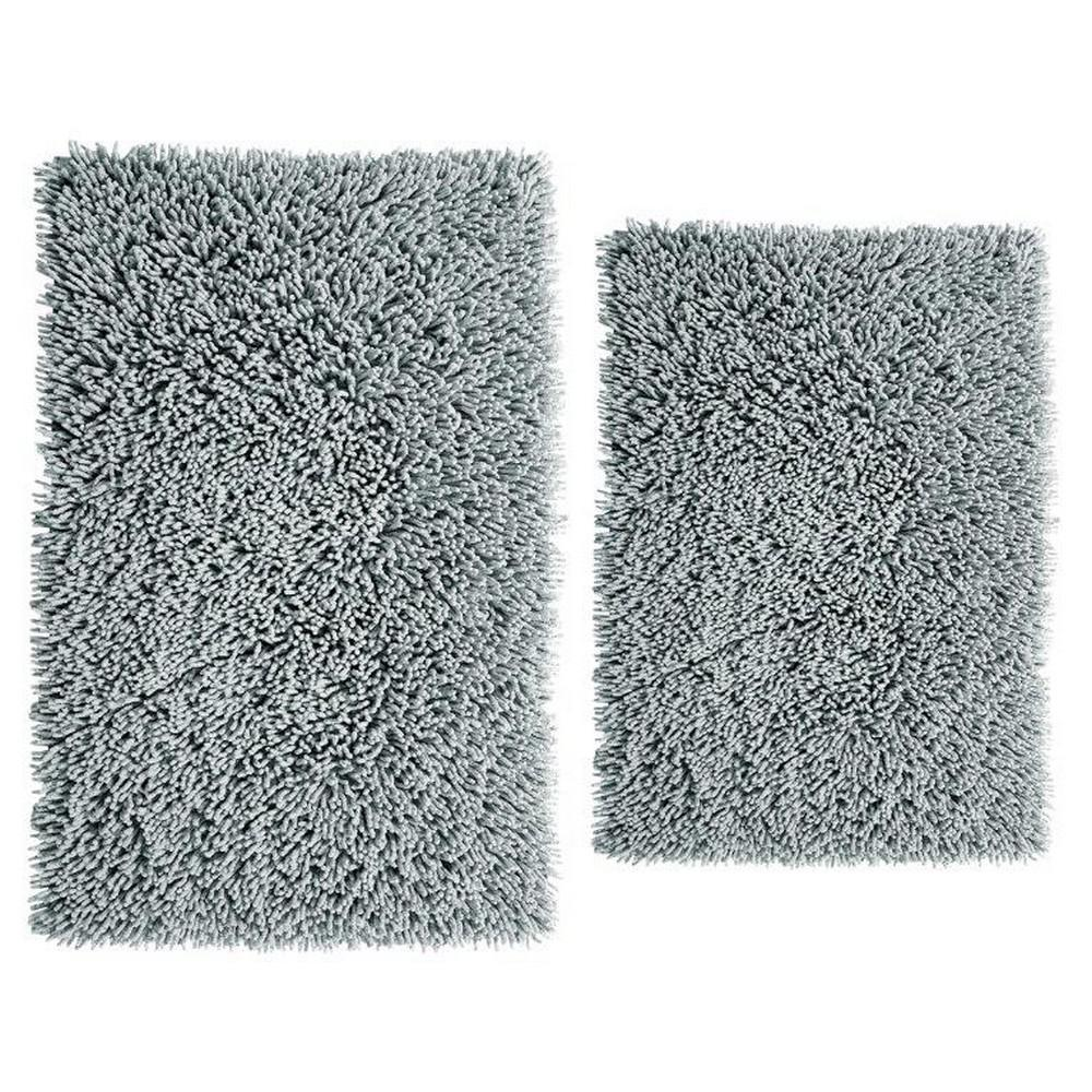 17 in. x 24 in. and 21 in. x 34 in. Chenille Shaggy Bath Rug Set (2 Piece), Silver